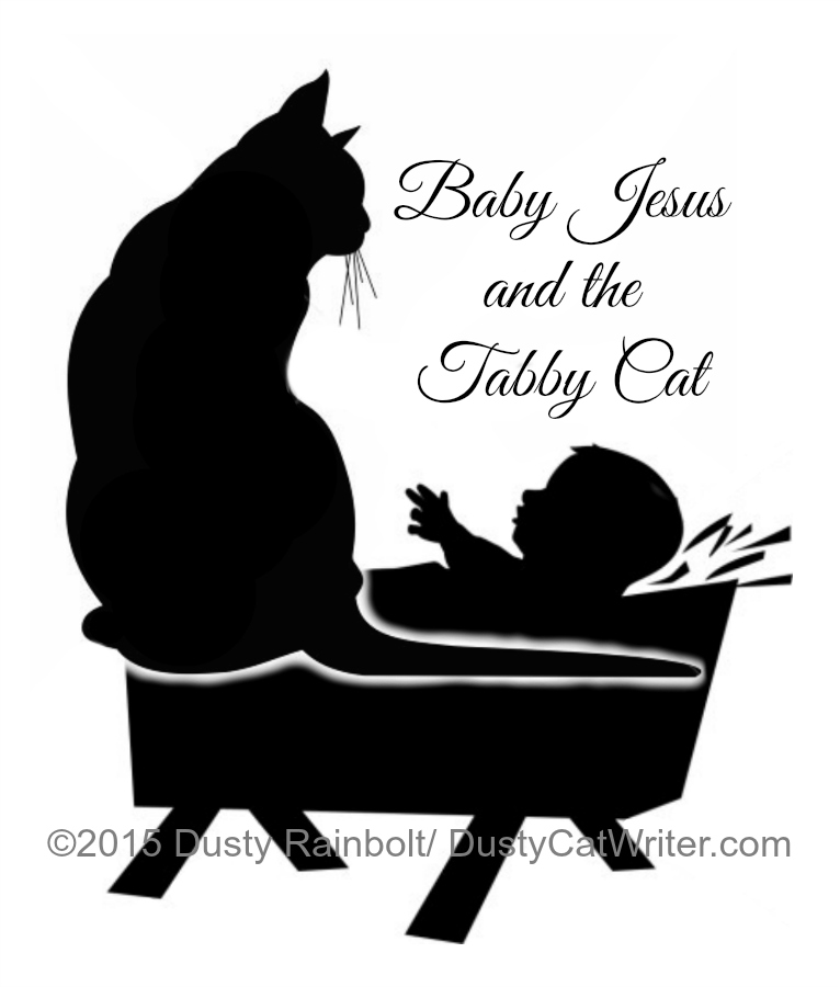 Baby Jesus and the tabby cat art
