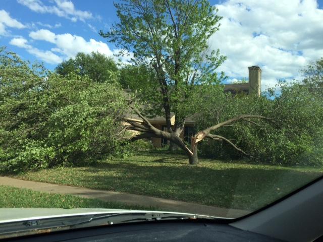 Straight line wind damage in Flower Mound.